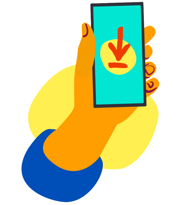 Holding phone illustration