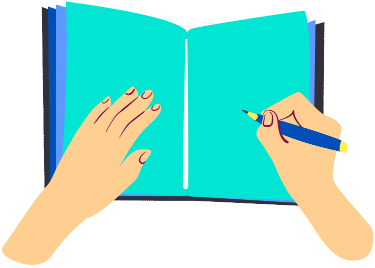 Writing in book illustration